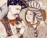 Muhammed Qasim 1627 - Mundschenk - illuminierte Miniatur vom Shah Abbas I (1571_1629) aus Persien, wie er seinen Mundschenk umarmt - Louvre, Paris