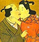 Miyakawa Choshun (1682_1753) _ Das Go Spiel _ Mitte 18. Jhd., shuga_Gemälde auf Seide, abgedruckt in ''The Love of Samurai, A Thousand Years of Japanese Homosexuality'' von Tsuneo Watanabe und Jun''ichi Iwata